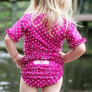 Ruffle Butts Polka Dot Ruffled Rash Guard Bikini